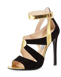 Suede & Metallic Crisscross Sandal, Gold/Black