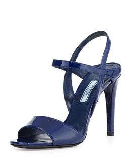 Prada Patent Ankle-Strap Sandal, Navy