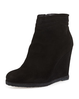Stuart Weitzman Meridian Wedge Ankle Boot, Black