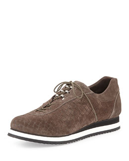 Stuart Weitzman Relay Suede Lace-Up Sneaker, Seal