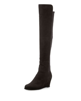 Stuart Weitzman Semi Suede Stretch-Back Boot, Black