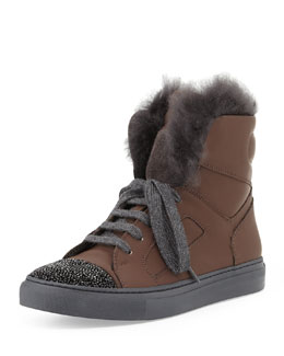Brunello Cucinelli Fur-Lined Leather High Top Sneaker