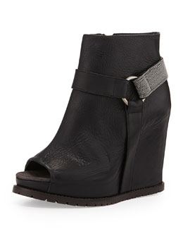 Brunello Cucinelli Monili Halter Wedge Bootie, Black