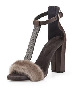 Brunello Cucinelli Monili Mink Fur T-Strap Sandal, Graphite