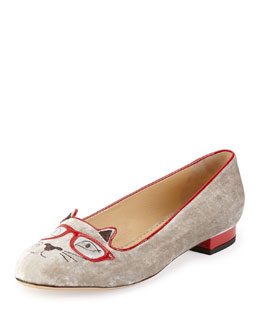 Charlotte Olympia Clever Kitty Velvet Slipper, Gray