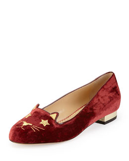 Charlotte Olympia Superstar Velvet Kitty Slipper, Burgundy