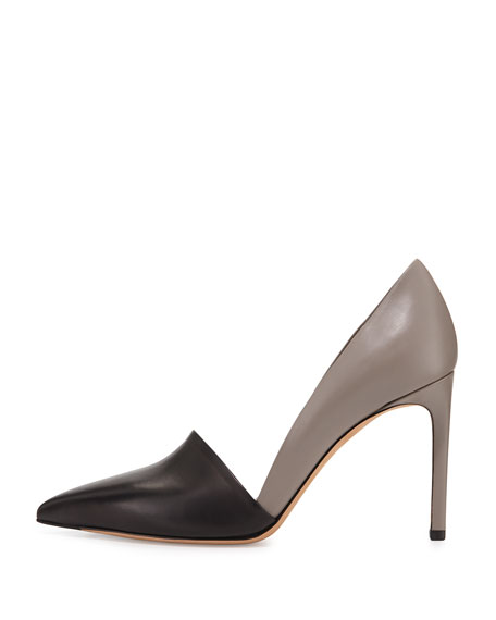 Cosette Two-Tone Pointy-Toe Pump, Black/Woodsmoke