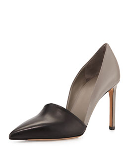 Vince Cosette Two-Tone Pointy-Toe Pump, Black/Woodsmoke