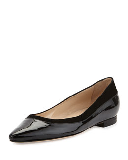 Manolo Blahnik Preflat Patent Point-Toe Flat, Black