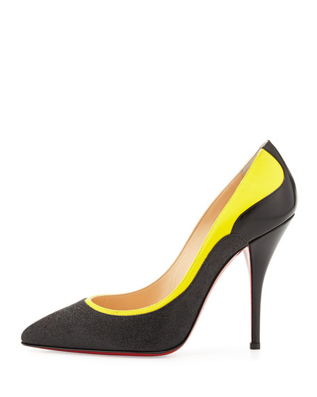 Tucsy Glitter & Patent Red Sole Pump, Black/Yellow
