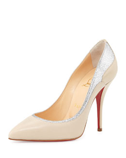 Christian Louboutin Tucsy Glitter-Trim Red Sole Pump