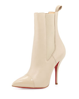 Christian Louboutin Tucson Cap-Toe Red Sole Bootie, Nude