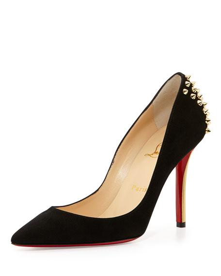 Zappa Spiked Suede Red Sole Pump, Black/Gold