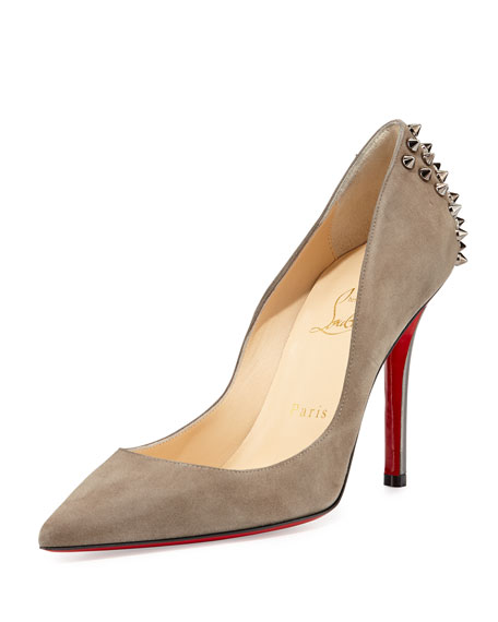 7694a465ab0b Christian Louboutin Zappa Suede Spiked Red Sole Pump