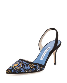 Manolo Blahnik Carolyneric Embroidered Halter Pump