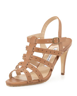 Manolo Blahnik Aniage Studded Ladder Sandal, Luggage