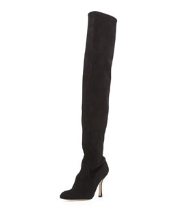 Manolo Blahnik Pascaputre Suede Over-the-Knee Boot, Black