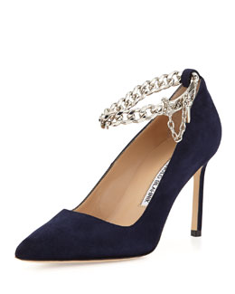Manolo Blahnik BB Chain 90mm Suede Pump, Navy