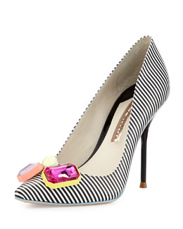 Sophia Webster Lola Striped Crystal-Toe Pump, Black/White
