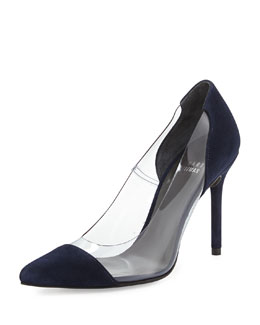 Stuart Weitzman Onview PVC/Suede Pointed-Toe Pump, Nice Blue