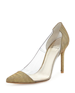 Stuart Weitzman Onview PVC/Shimmer Fabric Pointed-Toe Pump, Old Gold