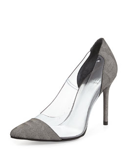 Stuart Weitzman Onview PVC/Shimmer Fabric Pointed-Toe Pump, Steel