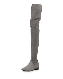 Miu Miu Suede Over-the-Knee Boot, Nebbia