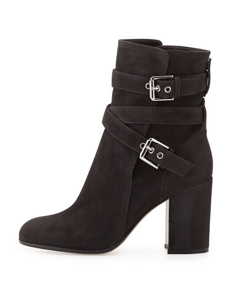 Belted Suede Ankle Boot, Piombo (Lead)