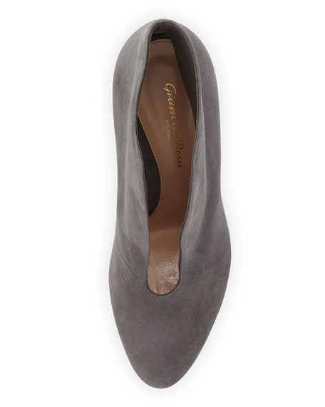 Suede V-Neck Ankle Bootie, Gray