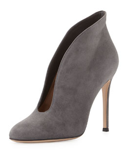 Gianvito Rossi Suede V-Neck Ankle Bootie, Gray