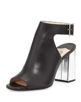 Prada Bicolor Open-Toe Block-Heel Sandal