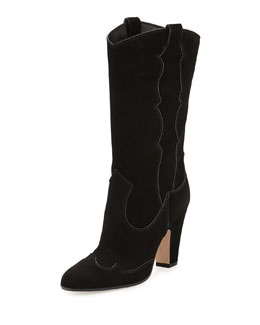 Gianvito Rossi High-Heel Suede Western Boot
