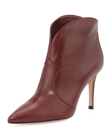 Pointed-Toe Low Western Boot, Burgundy
