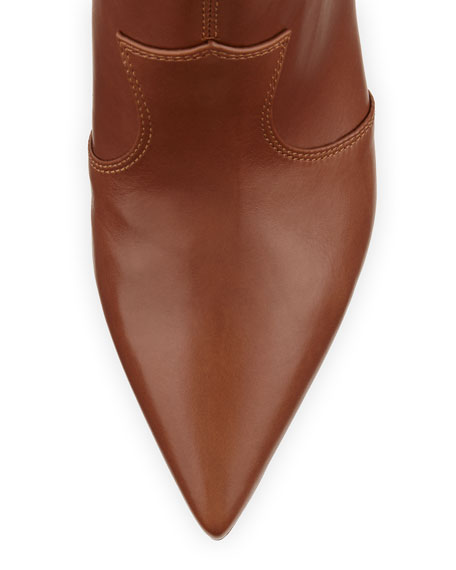 Pointed-Toe Low Western Boot, Luggage