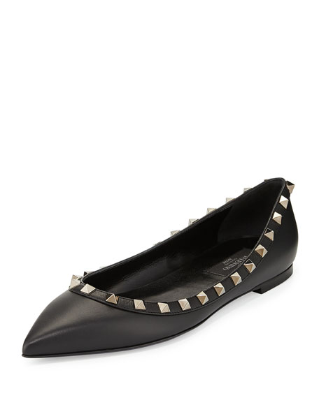 Noir Rockstud Leather Ballerina Flat, Black