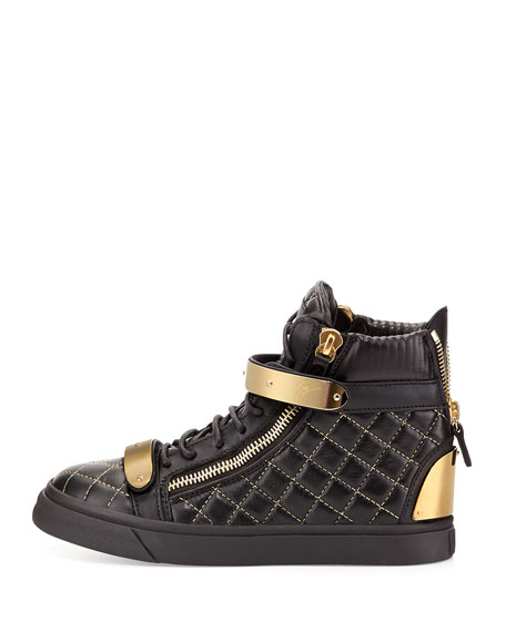 Quilted Leather High-Top Sneaker, Black