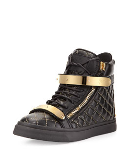 Giuseppe Zanotti Quilted Leather High-Top Sneaker, Black