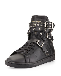Studded Triple-Buckle High-Top Sneaker, Noir