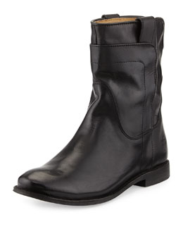 Frye Melissa Zip/Snap Short Boot, Black