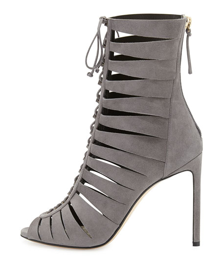 Suede Lace-Up Ladder Bootie