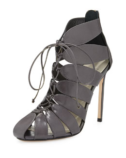 Francesco Russo Lace-Up Cutout Ankle Boot, Gray