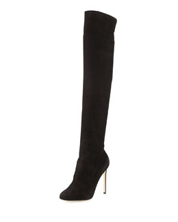 Francesco Russo Stretch Suede Over-the-Knee Boot