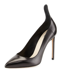 Francesco Russo Leather Raised Back Pump, Black