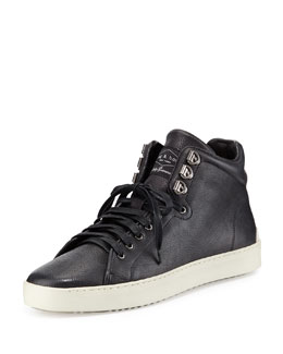 Rag & Bone Kent Leather Mid-Top Sneaker, Black