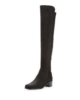 Stuart Weitzman Reserve Pindot Over-the-Knee Boot, Black (Made to Order)