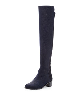 Stuart Weitzman Reserve Pindot Over-the-Knee Boot, Nice Blue (Made to Order)