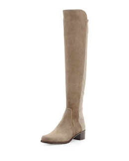 Stuart Weitzman Reserve Suede Over-the-Knee Boot, Praline (Made to Order)