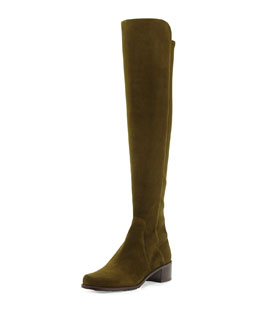 Stuart Weitzman Reserve Suede Over-the-Knee Boot, Olive (Made to Order)