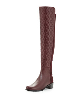 Stuart Weitzman Quiltoga Reserve Leather Over-the-Knee Boot, Bordeaux (Made to Order)