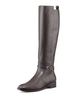 Balenciaga Papier Leather Buckled Knee-High Riding Boot